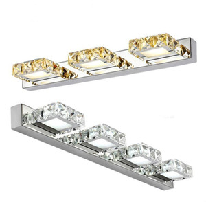 CHUSUKRU Square Crystal Mirror Lamp 16 32 46 62cm Long Champagne White LED Wall Light IC Driver 110 220v Bathroom Lamp