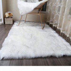 MUZZI Hairy Carpets 2020 New Sheepskin Plain Fur Skin Fluffy Bedroom Faux Mats Washable Artificial Textile Area Square Rugs