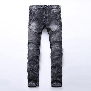 Männer plus Größe Youth Slim High Street Motorrad Falten Jeans Denim Stretch Füße Hosen Flut Schneeflocken