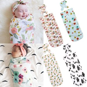 65x29 cm Newborn Baby Cotton Floral Swaddling Swaddle Wrap Infant Kids Receiving Blanket Sleeping Bag with Headband