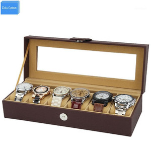 Brown Leather 6 Positions Watches Chest Box Time Magnet Clasp Window Storage Display Case Alibaba Wholesale Packaging Supplier1