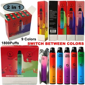 Authentischer Doppelmund V MxA Einweg-Vape 1800Puffs 2 in 1 VMXA 900mAh Batterie Vape-Stift 5,8ml 9 Farben Vapes E Zigaretten Leere Ölwagen