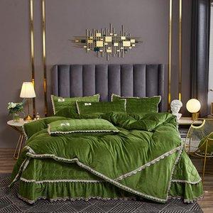 Luxury crystal velvet bedding set Bedlinen lace bedcover duvet cover bedsheet pillowcase 4pcs for winter Bed Set