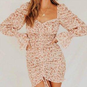 2020 Spring New Women Floral Print Sashes Shirt Dress Beach Ladies Loose Short Boho Mini Dress Girls High Waist Streetwear