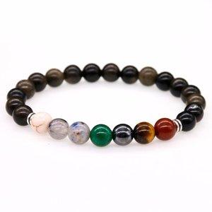 Perlen, Strangs Muticolor Rainbow Farbe Herren Armbänder Schwarz Obsidian 7 Chakra Heilungsbalance Perlen Reiki Gebet Yoga Armband Für Frauen