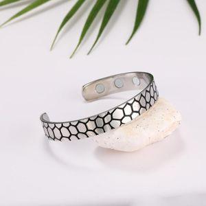 London Men Silvery Wild Crocodile Pattern Healthy Magnetic Bracelet Women Power Therapy Magnets Magnetite Bracelets