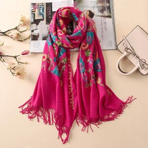 Women Scarf Vintage Summer Cotton Embroidery Shawls And Wraps Lady Floral Bandana Female Hijab Winter Scarves