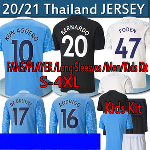 4xl City Balr Player Version Soccer Jersey 2020 2021 Fans Sterling de Bruyne Kun Agüero Men Kits Kits Mangas largas Camisa de fútbol