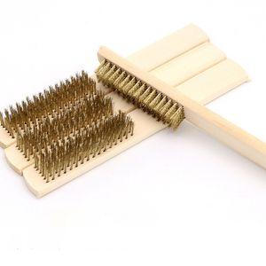 Manija de madera Cable de cobre de latón Cepillo de cobre para dispositivos industriales Superficie interna pulido de pulido de pulido 6x16 Row Herramienta de mano al por mayor DBC BH4529