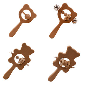 DIY Beech Baby Teether Wooden Bear Rabbit Owl Bell Rattle Crafts Kids Toys Newborn Molars Teething Toy Beading Rope Handle 4mj G2