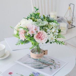 White Rose Artificial Flowers High Quality Silk Peony Bouquet Home Wedding Decor Plastic Fake Plants Vases for Table Arrangement