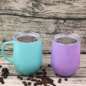 12oz Stainless Steel Coffee With Lid Handle Egg Cup Tea Mug Water Bottle Wine Glasses Double Layer Beer Mug Solid Tumbler SEA WAY FWF2745