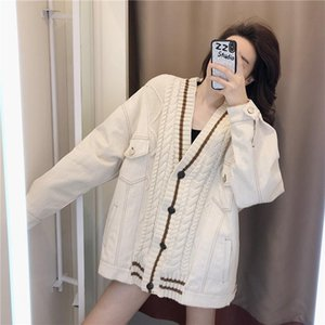 Blue denim stitched sweater coat 2020 new women's autumn and winter thickened versatile Korean casual mid length top