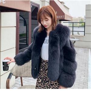 Kraliyet Furealux Sıcak Kalın Yaka Fox Uzun kollu doğal deri ile kadın kürk mantolar Na8P