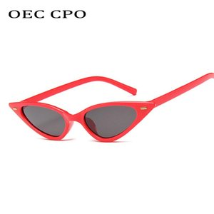 OEC CPO 2020 New luxury Rivets Cat eye Sunglasses WomenBrand Sun Glasses Ladies Small Frame Vintage Red shades uv400 O200