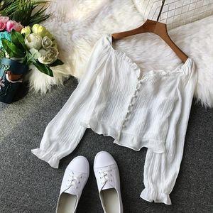 Womens Blouse 2020 Summer Chiffon Korean Blouse Womens Tops and Blouses Elegant Boho White Shirt Women Camisas Mujer MY2383