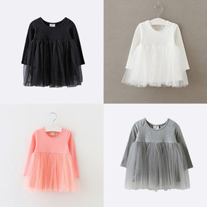Bambina Dress Dress Princess Kid Abiti Nuovo Abito a maniche lunghe a maniche lunghe a maglia Garza autunno patchwork in tulle in tulle in tulle in tulle