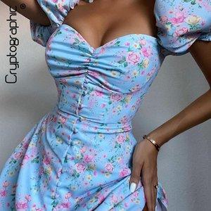 Roupa de criptográfico Prairie Floral Chic Imprimir Cottagecore Mini vestido do clube Boho Puff manga curta Vestidos Bodycon Mulheres