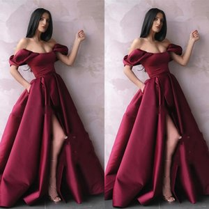 Vintage Off Shoulder Burgundy Prom Dresses A Line Plus Size Long Satin High Side Split Arabic African Formal Celebrity Evening Party Gowns