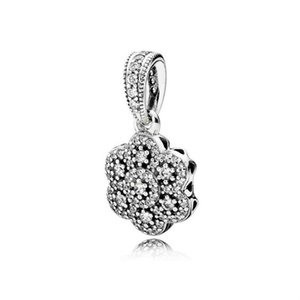 2020 NEW 100% 925 Sterling Silver 1:1 390392CZ CRYSTALLISED FLORAL NECKLACE PENDANT Original Women Wedding Fashion Jewelry Gift