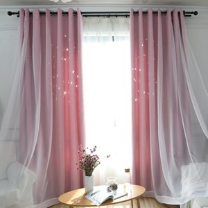 Fashion Blackout Curtains For Living Room Bedroom Hollow Star Window Kitchen Pink Blue Grey Drapes With White Tulle Q1126
