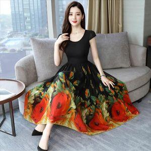 2019 Vintage Print Long Sleeve Maxi Dresses Autumn Winter 3xl Plus Size Chiffon Midi Dress Elegant Women Party Vestidos J30