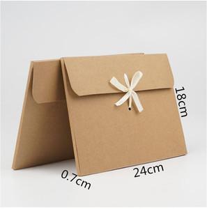 10pcs 24*18*0.7cm Brown Silk scarf gift paper box kraft paper envelope bag postcard packing box photo cd dvd packaging
