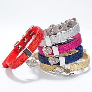 Hundekragen Leinen Glitter PU-Lederkragen für Welpen klein mit bling Herz-förmiger Diamant-Anhängergröße XS S 4 Farben