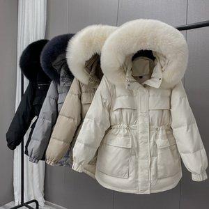 Winter White Duck Down Jacket Women 2020 New Fox Fur Collar Short Hooded Down Coat Female Office Lady Adjustable Waist