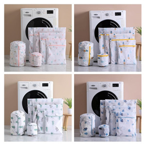 6 pcs set Polyester Mesh Laundry Bags Blue leaves Pineapple Cactus Printing Washing Bag for Dirty Clothes Z1202