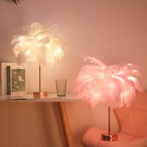 Art Creative Feather Table Lamp Warm White Light Tree Feather Lampshade Girl LED Wedding Decorative Lights Pink White Birthday Gift