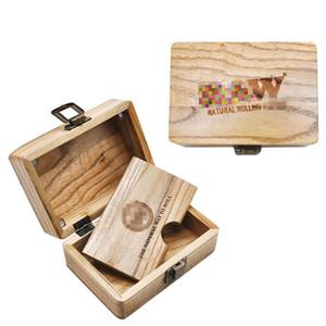 NUEVO Portátil Natural Hecho a mano Estuche de madera Rolling Case Handroller Caja de madera Tabaco Cigarette Hierba Rollo de almacenamiento Caja de almacenamiento Fumar Tubería Accesorios