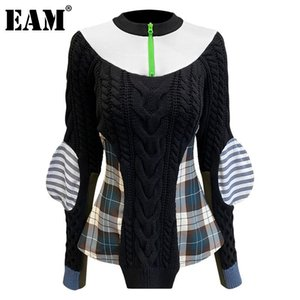 [EAM] Plaid Irregular Knitting Sweater Loose Fit Mock Collar Long Sleeve Women Pullovers New Fashion Autumn Winter 2020 1DD0087