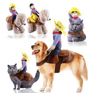 Tasarımcı-Köpek-Giysi Pet-Suit-Cowboy Rider Stil Ceket Yavru Noel Giydir Kostüm Şapka ile Cadılar Bayramı Cosplay Ceket Köpek 201127