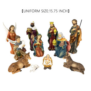Cow, sheep, horse, baby, holy jesus, family and angel Christmas decorations 15.75 inches beautiful set