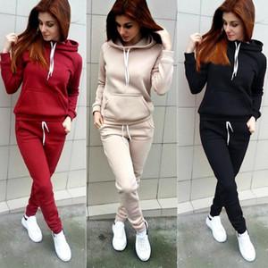 Women Hoodies Hooded Tops Fashion Long Sleeve Sweatshirt and Sweat Long Pants Woman Autumn Winter 2pcs Warm Outfits Suit LLS157