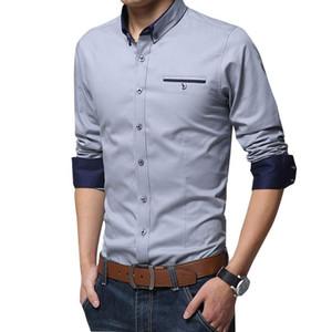 Chemise de formelle sociale occasionnelle lisible Hommes à manches longues Chemise Business Slim Office Coton Mâle Coton Hommes T-shirts Blanc 4XL 5XL