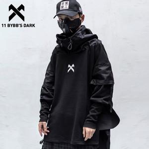 11 BYBB está escuro japonês Streetwear Man Hoodies Hip Hop Embroideried pulôver Patchwork Falso Two DarkWear Tops Techwear Hoodies C1117