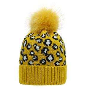 CC Leopard hats winter warm beanie hat pom poms fur ball hats outdoor Sports Ski Warm Skull Caps Unisex Woolen Crochet Beanies