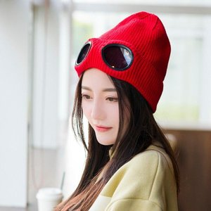 Winter Warm Men Beanie Hat with Glasses Cap Knitted Women Adult Unisex Casual Solid Acrylic Beanie Ladies Outdoors Watch Bonnet