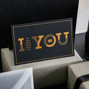 Black Bronzing بطاقة المعايدة شكرا لك عيد ميلاد سعيد أحبك طباعة دعوات الزفاف + بطاقة مغلف بطاقة نعمة CCA2458