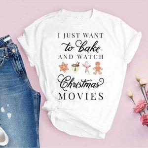 T-shirt para mulheres impressão dos desenhos animados biscoitos filmes feriado Feliz Natal roupas senhora tops roupas feminino camiseta gráfico camiseta