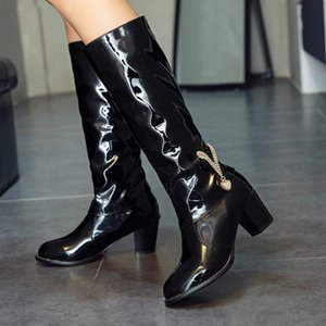 Hot Sale-Patent Leather Winter Booties Women Rhinestone High Heel Patent Leather shoe Slip-On Middle Boots Feminina zapatos de mujer