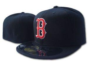 Boston Boston Hommes Couleur Noir Couleur Rouge B Visière plate sur le terrain Tout Team Sport Baseball ajusté Chapeaux Rouge Sox SOX Ventilateur HIP HOP HOP Full Fermé Cap Tape Tuyaux