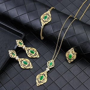 Sunspicems Fashion Algerian Moroccan Caftan Jewelry Set for Women Gold Color Wedding Earring Necklace Bracelet Ring 4pcs Bijoux
