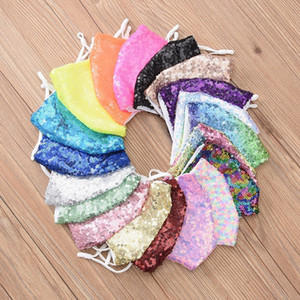 2020 Fashion Bling 3D Sequins Mask Washable Reusable Face Care Shield Sun Rainbow Color Gold Elbow Shiny Face Cover Designer Masks