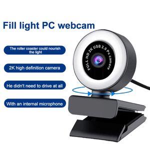 Webcam Ring Light HD 1080P Videoaufzeichnung USB-Webkamera für PC-Spiel-Laptop-Computer mit Mikrofon-Webcam zum Streaming-OBS