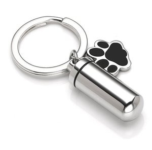 Urn key chain Pet Cremation Jewelry Charm Dog Paw Print Cylinder Memorial Urn Pendant For Ashes Keepsake Jewelry