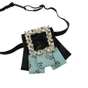 Fashion Bow Tie Printed Brooch Rhinestone Floral-Print Shirt Collar Pin Men's Groom Best Man Marriage Children Mens Luxury Ties