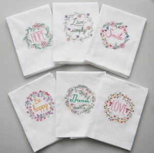 Embroidered Napkins Letter Cotton Tea Towels Absorbent Table Napkins Kitchen Use Handkerchief Boutique Wedding Cloth 5 Designs SN1912